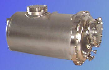 Stainless steel electropolished high vacuum vessel.